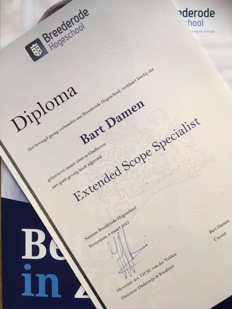 Diploma, Extended Scope Specialist, Bart Damen